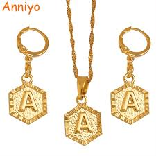 gold necklace with letters images Anniyo a z letters gold color small pendant earrings initial jpg
