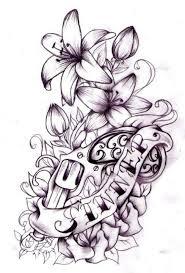black ink gun with flower and banner tattoo design