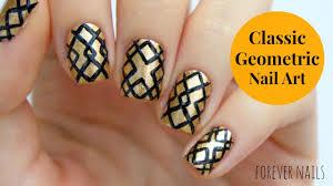 classic geometric nail art design tutorial