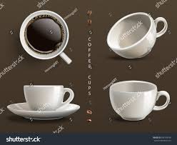 coffe cups four coffee cups gray background 3d stock vector 599170436