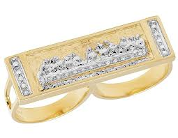 finger gold rings images Men 39 s 10k yellow gold genuine diamond last supper two finger ring jpg