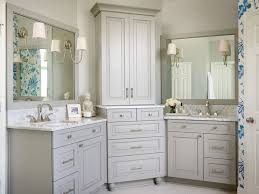 White Corner Cabinet Bathroom Beautiful Bathroom Features Gray His And Hers Vanities Topped With