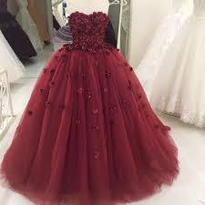 Burgundy Flowers Burgundy Flowers Wedding Dresses Ball Gowns 2018 Engagement Dress