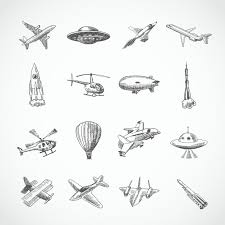 aircraft helicopter military aviation airplane sketch icons set