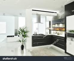 modern luxury white black kitchen interior stock illustration