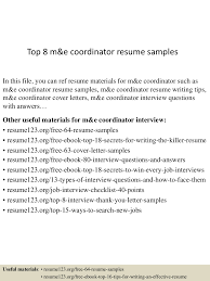 Supply Chain Coordinator Resume Sample by Top 8 M U0026e Coordinator Resume Samples