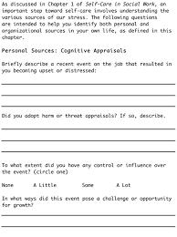 self care in social work worksheets