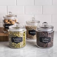 Clear Plastic Kitchen Canisters Ksp Chalkboard Glass Canister With Lid Set Of 4 Clear