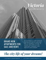 blue and white apartment building corporate flyer templates by canva