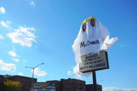 burger king dressed up as the ghost of mcdonald u0027s in this scary