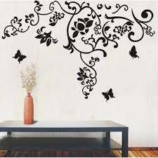 discount large black flower wall decals 2017 large black flower