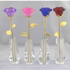 Flowers With Vases Aliexpress Com Buy Valentine U0027s Day Gift Blooming Crystal Rose