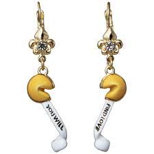 leverback earrings fortune cookie luck drop leverback earrings goldtone