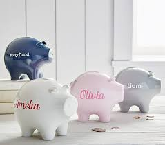 personalized silver piggy bank mini piggy bank pottery barn kids