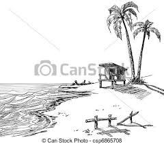 summer beach sketch with palm trees and lifeguard stand vector