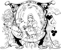 22 wonderland coloring pages images drawings