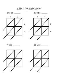 guided practice worksheet for lattice multiplication by the fersts