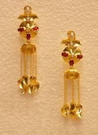 golden earrings traditional indian jhumka style golden earring with drop chain