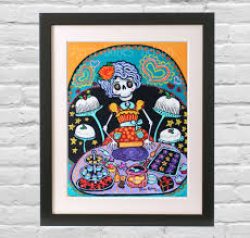 Mexican Kitchen Decor by Folk Art Print Mexican Day Of The Dead Kitchen Wall Decor La