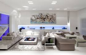 light interior grey sofas on the white ceramics floor has white light lamps