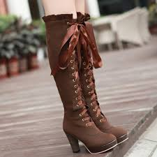 womens knee high boots sale black knee hi suede boots lace up front no open toe