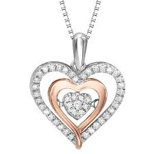 love necklace diamonds images Rose gold diamond heart rhythm of love necklace diamonds in jpg