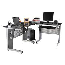 Homcom 64 U201d Modern L Shaped Glass Top Office Workstation Computer