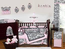 Pink And Brown Damask Crib Bedding Black White Pink Damask Print Crib Bedding Set 9pc Nursery
