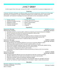 Manager Experience Resume Best Operations Manager Resume Example Livecareer