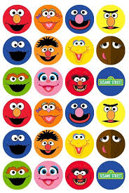 sesame cake toppers 24 x sesame character faces edible cupcake toppers pre cut