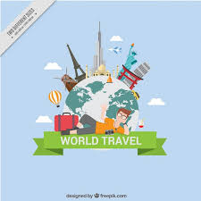 traveling around the world background vector premium