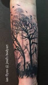 flying birds with simple tree design ideas for sleeve