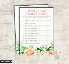 who knows mommy best floral baby shower printable game