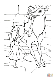 gerda is trying to reach kai on reindeer coloring page free