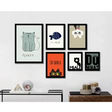 Bedroom Wall Canvases Cute Cartoon Cat Minimalist Art Canvas Poster Print Abstract