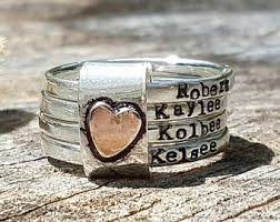 mothers rings stackable engraved mothers ring etsy