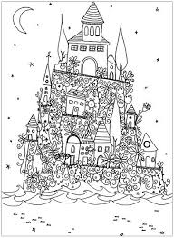 fantasy castle architecture and living coloring pages for