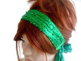 green headband green headband festival hair band handmade headband cover