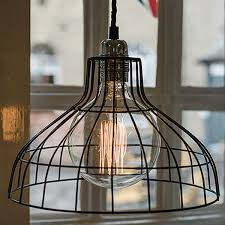 black coated wire light shade based on an industrial parasol