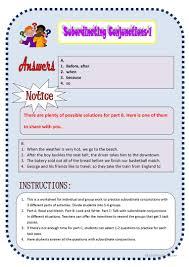 subordinate conjunctions 1 worksheet free esl printable