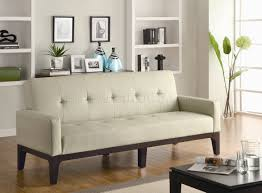 Modern Furniture Depot by Cream Button Tufted Leather Like Vinyl Modern Sofa Bed