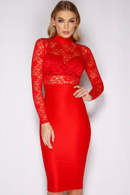sofia red lace high neck midi dress at misspap co uk