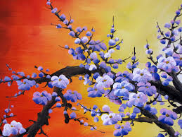 chinese feng shui painting chinese cherry blossom painting