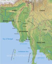 Asia Physical Map Myanmar Physical Map