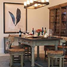 Zinc Top Dining Table With X Back Dining Chairs Transitional - Dining table for bar stools