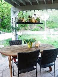 Kitchen Patio Ideas by Set The Mood With Outdoor Lighting Hanging Pot Racks Pot Rack