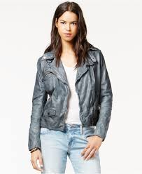 leather moto jacket lucky brand lucky brand leather moto jacket in gray lyst