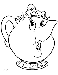 Mrs Potts Coloring Page and the beast coloring pages 4 disney coloring book