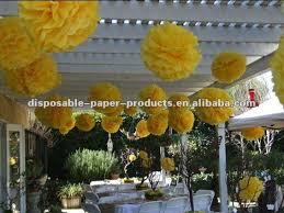 Yellow Pom Pom Flowers - tissue paper pom poms yellow 12 inch wedding paper balls flowers