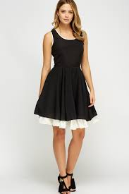 contrast insert skater dress black off white just 5